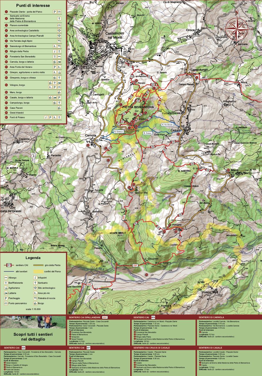 mappa dei sentiri - pietra di bismantova